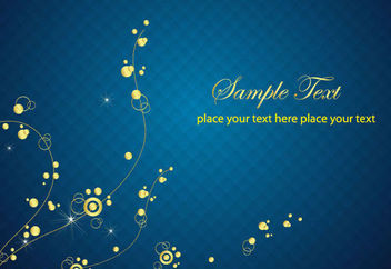 Midnight Blue Checker Background with Golden Floral - Free vector #166433