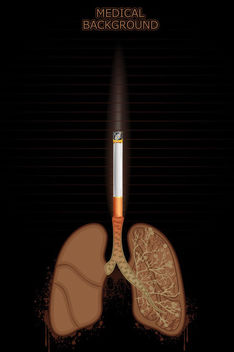 Cigarette Burning Lungs Medical Background - vector gratuit(e) #166453