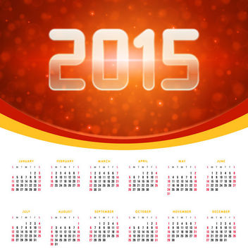 Glowing 2015 Banner with Calendar - vector gratuit(e) #166463