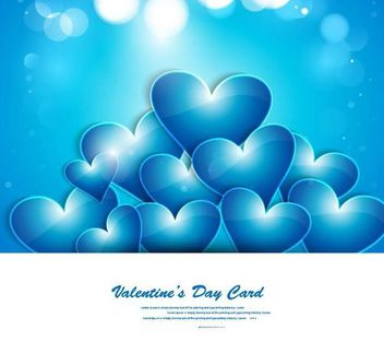 Blue Glowing Heart Valentine Day Card - Free vector #166703