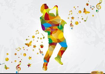 Colorful saxophonist musical background - Free vector #166743