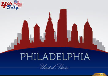Philadelphia skyline on July 4th commemoration - Free vector #166753