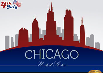 Chicago skyline on July 4th celebration - Free vector #166763