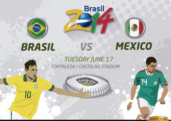Brasil Vs. Mexico match for Brazil 2014 - Free vector #166793