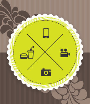 Vintage Label with Ornament and Icons - vector #166813 gratis