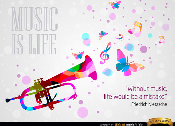 Music life Nietzsche quote background - Free vector #167113