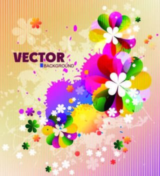 Colorful Spring Floral Background with Splats - Free vector #167323