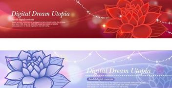 Glowing Banner Template with Red & Blue Lotus - бесплатный vector #167423