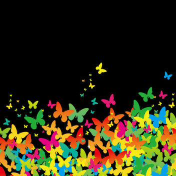 Flat Painted Butterfly Background - Kostenloses vector #167433