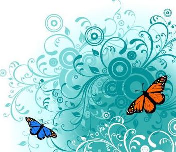 Swirling Floral Background with Butterfly - Free vector #167493