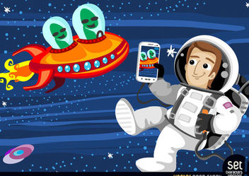 Astronaut photographing aliens in space - Free vector #167533