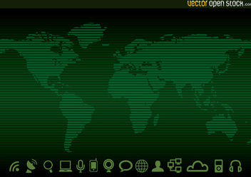 Technology worldmap Background and Icons - Free vector #167593