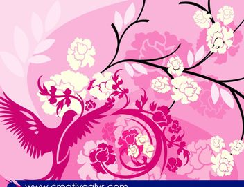 Floral Pinkish Background with Bird - Free vector #167673