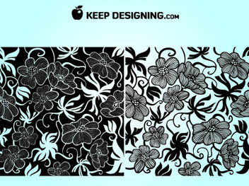 European Art Deco Floral Wallpaper - Free vector #167983