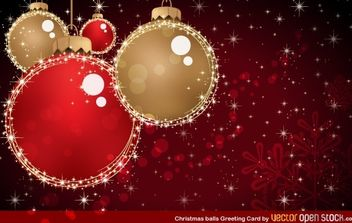 Christmas balls greeting card - vector gratuit #168013