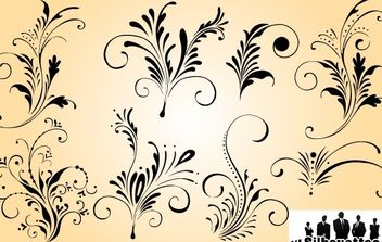 Curly Elegant Floral Ornament Set - Free vector #168023