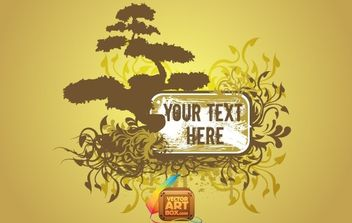 Floral Tree Frame Template - Free vector #168493
