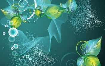 Abstract Green Swirl Floral Vector Background - Free vector #169053