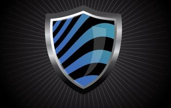 Glossy Wave Striped Shield - vector gratuit #169253