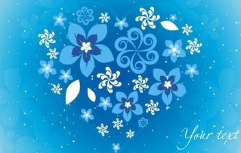 Blue Floral Heart - Free vector #169413