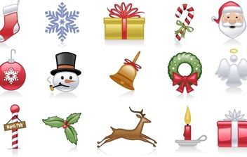 Shiny holiday and Christmas icons - Free vector #169533