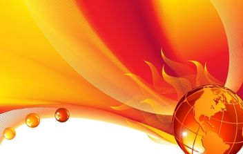 Burning globe on a abstract background - vector gratuit #169893