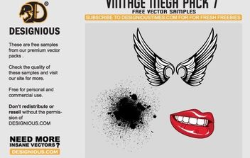 Wings, lips and pattern vector samples - Free vector #169953