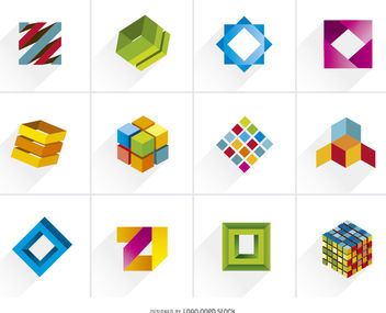 Creative 3D Cubic Colorful Logos - Free vector #170253
