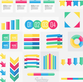 Colorful Minimal Infographic & Web Elements - vector gratuit #170413