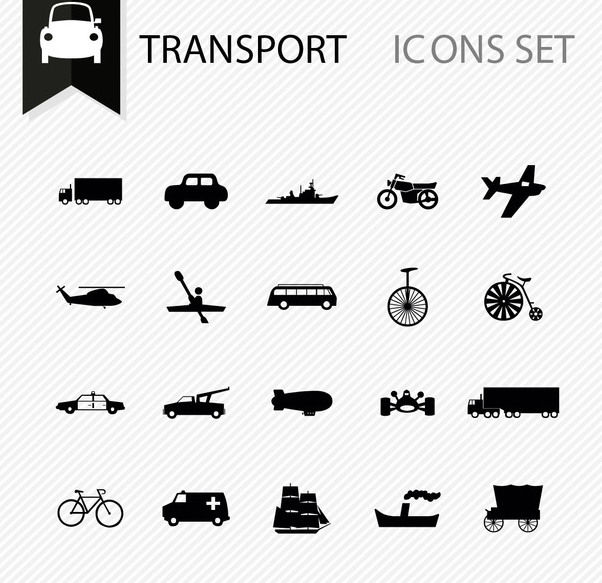 Several Minimal Transportation Icons - vector #170433 gratis