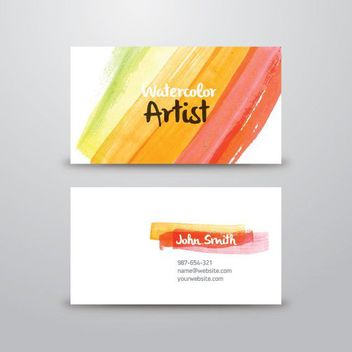 Abstract Watercolor Artist Business Card - бесплатный vector #170543