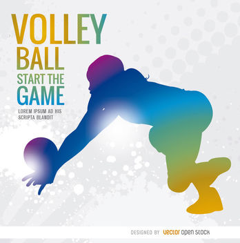 Volleyball girl colorful silhouette - Free vector #170583