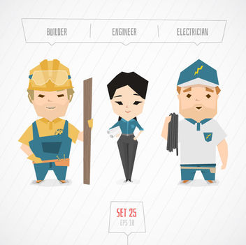 Builder Engineer & Electrician Characters - vector gratuit #170623
