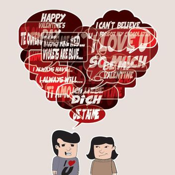Heart Shape Speech Bubbles Valentine Cartoon - Free vector #170653
