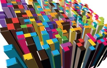 3D Abstract colorful Buildings - Free vector #171223