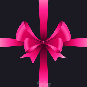 Glossy Pink Realistic Ribbon Bow - vector gratuit #171483