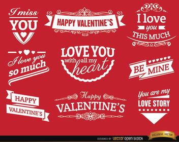 Valentine's Day love badges - Free vector #171513