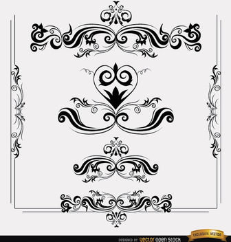 Floral and swirls shape ornaments - Kostenloses vector #171523