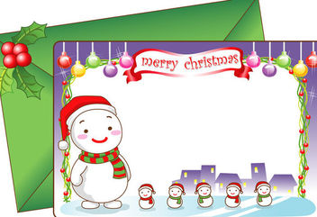 Cartoon Snowman with Decorative Christmas Card - vector gratuit #171553