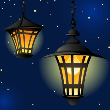 Shiny Vintage Lantern in the Night - Free vector #171623