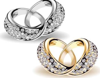 Interlocked Beautiful Gold & Diamond Wedding Rings - Free vector #171663