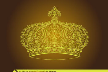 Creative Calligraphic Golden Crown - Free vector #171733