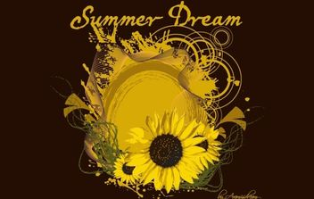 Summer Dream Artwork with Sunflower - бесплатный vector #172143