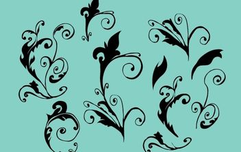 Curly Vector Floral ornaments - Free vector #172173