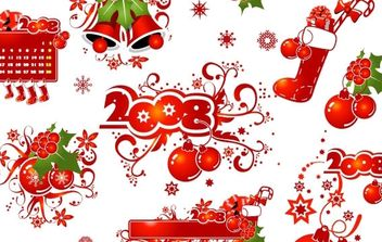 2008 CHRISTMAS DECORATION ELEMENTS AND PATTERNS VECTOR MATERIAL - бесплатный vector #172493