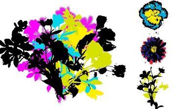 Retro Grunge Floral Vectors - Free vector #172613