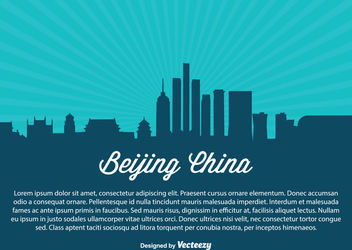 Beijing China Skyline Silhouette - vector gratuit #172903