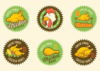 Retro Fried Chicken Label Pack - vector gratuit #172913