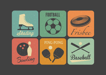 Flat Retro Squared Sport Icons - Kostenloses vector #172923