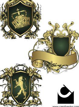Heraldic Shield Decorative Emblems - Free vector #173003